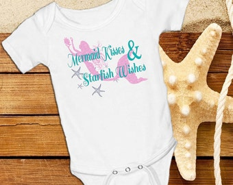 Mermaid Kisses and Starfish Wishes  pink, yellow and turquoise  White onsie Snap bottom all in one bodysuit