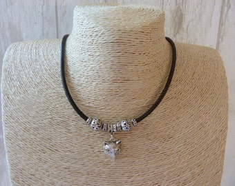 Fox head Leather Necklace