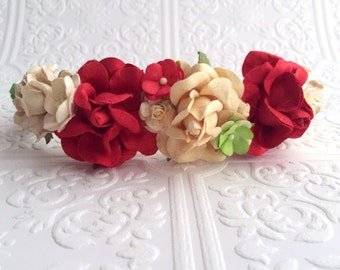 The Ivory and Red Holiday Goddess Floral Crown