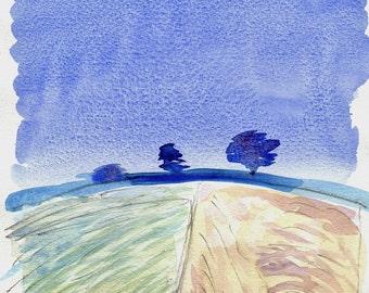HARVEST FIELDS - Watercolour Landscape - English Painting - ElizabethAFox - Original Landscape Painting