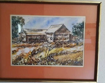 Vintage Old Barn Water Color by M Zummerman