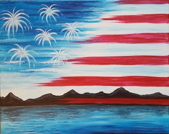 Office Decor Acrylic Painting, American Decor, Man Cave Painting, Soldier Gift, American Flag Art, Home Decor Painting, Man Cave