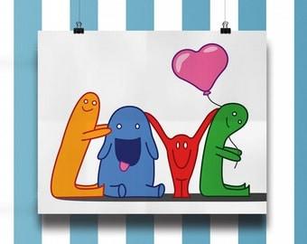 Love, kids poster, typography, satin cover stock #80, orginal print, illustration, children, cute, nursery, baby shower present, cartoon