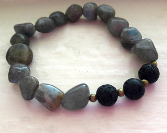 Free-form Labradorite and Lava Diffuser Bead Bracelet
