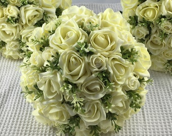 Artificial Lemon Rose & Foliage Bridesmaids Bouquet