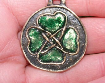 Lucky Celtic Irish Four Leaf Clover Bronze & Resin Pendant Spiritual by the Green Man