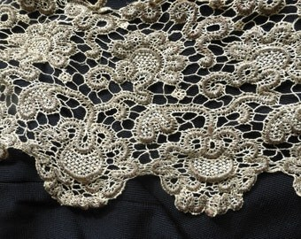 Antique 19th C silver gold metal threadwork lace trimming collar