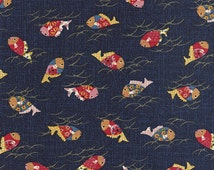 JAPANESE INDIGO FABRIC: Colorful Koi Design (1/2 Yd Increments)