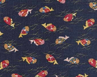 JAPANESE INDIGO FABRIC: Colorful Koi Design (1/2 Yd Increments)