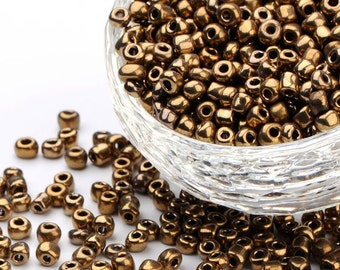 6/0 Luster Bronze/Gold Seed Beads