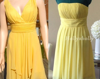 Yellow Bridesmaid Dress, mismatch bridesmaid dress knee length