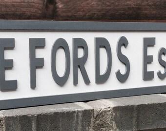 Personalised freestanding/hanging vintage style street sign, weddings