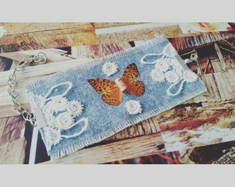 Boho chic bracelet with lace and tiger butterfly