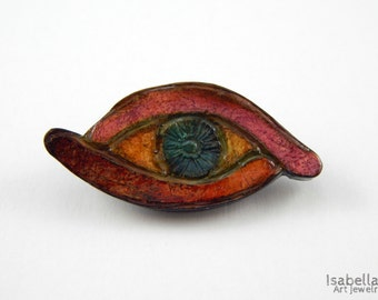 Eye brooch, christmas gift, evil eye charm, colorful brooch, artsy jewelry, polymer clay brooch, alternative jewelry, egyptian eye brooch