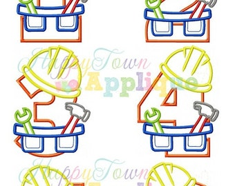Construction Birthday Number Set Machine Embroidery Design