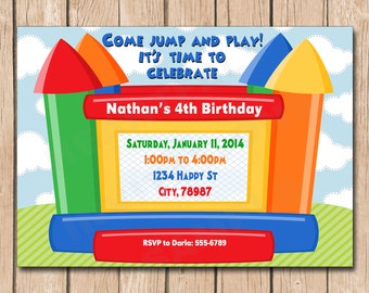 Jump House Birthday Invitation | Primary Colors, Girl or Boy - 1.00 each printed or 10.00 DIY file