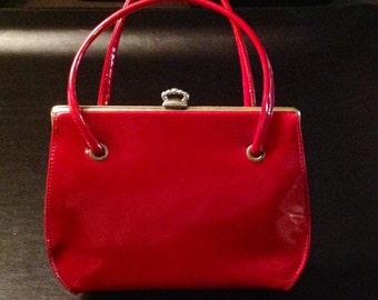 Beautiful True Vintage Patent Leather Reddish Brick Top Handle Handbag