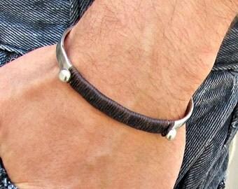 Mens silver Hammered Bracelet Wrap Cord Bracelet