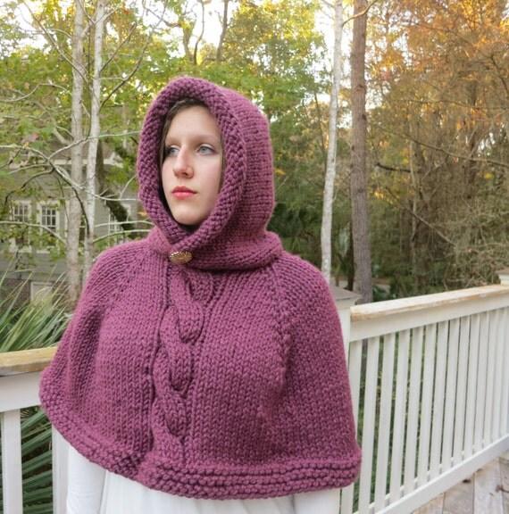 Knitting Pattern Poncho Bulky Yarn : Poncho Knitting Pattern, Cape, Hoodie Poncho Bulky Yarn ...