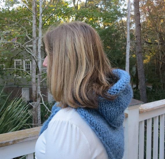 Knitting Pattern Hoodie Cowl Super Bulky Yarn Winter Hat