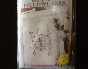 Watering can perle edge pillowcase cross stitch design