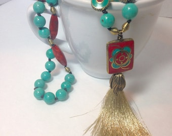 Turquoise and Coral Long Tassel Necklace, Artisan crafted, Hand made, Exotic, Bohemian, One-Of-A-Kind, Southwest Jewelry, Brass Necklace