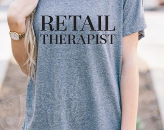 Retail Therapist Dolman Tshirt - Womens Clothing. Womens Tshirt. Graphic Tee - Tickled Teal