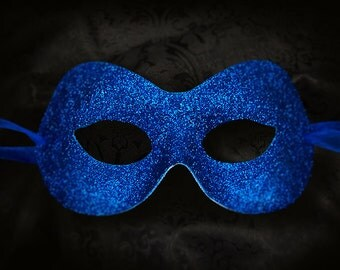 Glitter Royal Blue Masquerade Mask  -  Shimmering Blue Venetian Style Mardi Gras Mask - For Masquerade Ball, Prom, Costume Party, Wedding