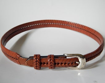 "32"" Fishtail Braided Brown Faux Leather Belt Removeable Buckle"