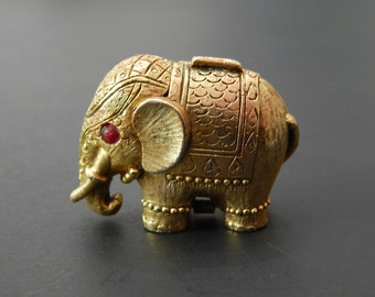 "1 1/4"" x 1 1/2"" Goldtone Metal India Elephant Perfume Holder Trinket Box"