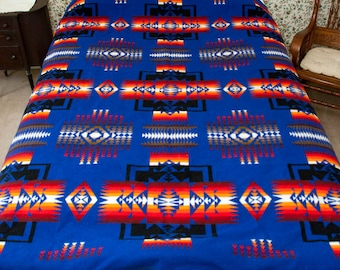 Vintage Beaver State Blanket, Pendleton Mills, Wool Camp or Trade Blanket, Bright Blue / Red / Black, Chief Joseph Design, Lodge, Southwest