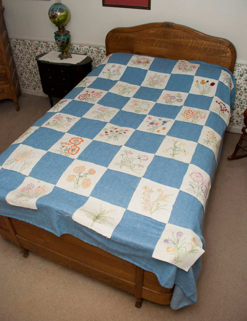 Vintage Embroidery Quilt Kit 32 Hand Embroidered Blocks