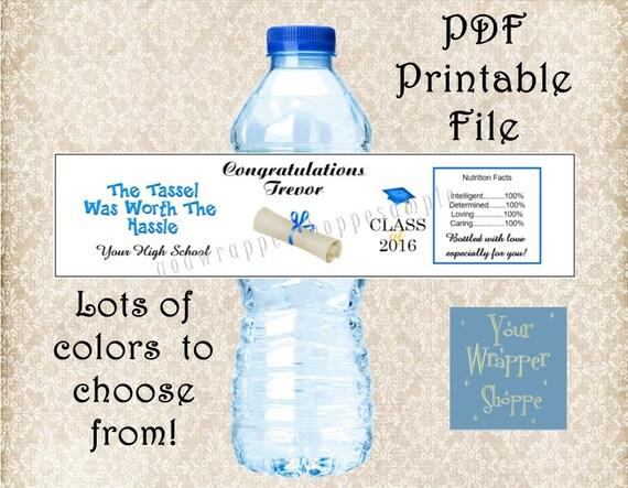 DIY PRINTABLE PDF Graduation Class of 2016 Water Bottle Labels ...