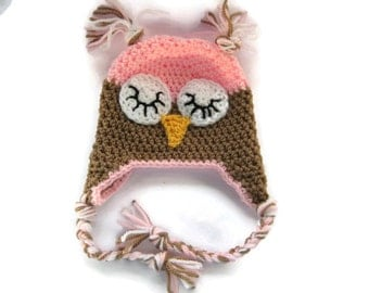 Sleepy Owl Baby Hat with Ear Flaps ~ Baby Girl Hat ~ Newborn/0-3months ~ Hand Crochet Baby Hat ~ New Baby Gift