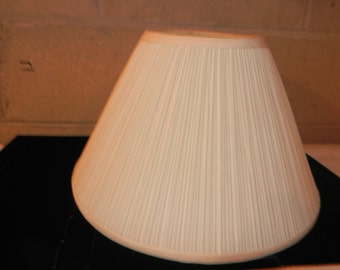 Vintage Light Ivory Pleated Lamp Shade with Spider Attachment