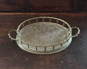 Vintage Brass Serving Tray - Brass Decorative - Home Decor - Oval Brass