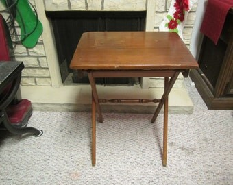 """vintage Solid Wood FOLDING TV TRAY Table : Water Satined top**14 1/2 """" x 19 1/2 """" x 24"""" tall** folds to 19"""" x 27"""" x 3"""" ** 1970's ??"""