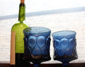 2 Blue Glass Goblets