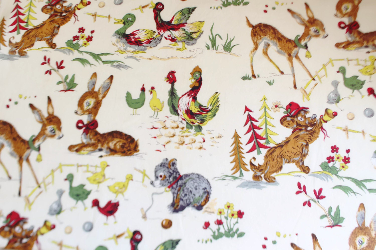Indian head vintage fabric 2 yards 1950s childrens print for Vintage childrens fabric prints
