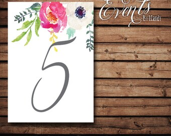Table Numbers - Watercolor 110