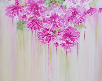 """Pink Peonies Painting on Canvas 20""""x20"""" Hand-Painted with Acrylic Paint Ready to Hang All Edges Finished"""