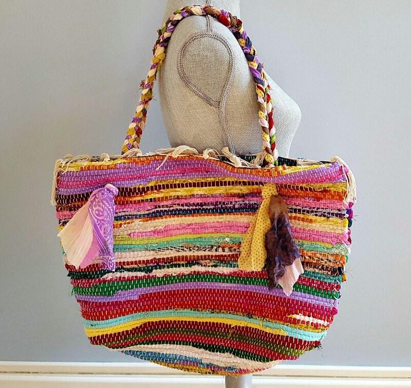 Rag Rug Bag Beach Tote Colorful Bag Rug Bag Bohemian Tote