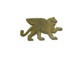 Vintage Stamped Brass, Winged Lion