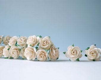 Paper Flower,50 pieces mini rose size 2.5 cm., Of-white color.