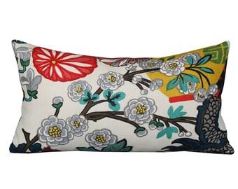 ON SALE - Schumacher Chiang Mai Dragon Lumbar Pillow Cover in Alabaster Lantern B