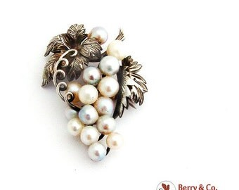 SaLe! sALe! Japanese Cultured Pearls Grape Cluster Brooch Sterling Silver
