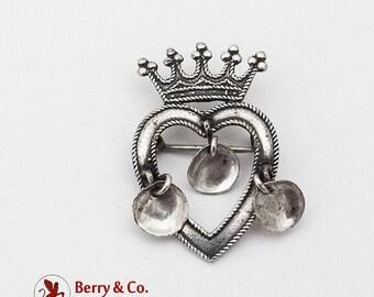 SaLe! sALe! Norwegian Wedding Jewelry Crowned Heart Brooch Sterling Silver