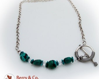 Green Turquoise Glass Crystal Toggle Necklace Sterling Silver