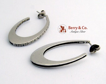Long Oval Hoop Earrings Sterling Silver CZ