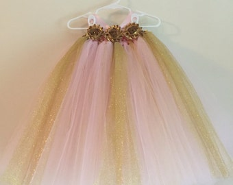 Blush Pink and Gold Tulle Dress, Birthday Princess Dress, Pink and Gold, Gold Flowers